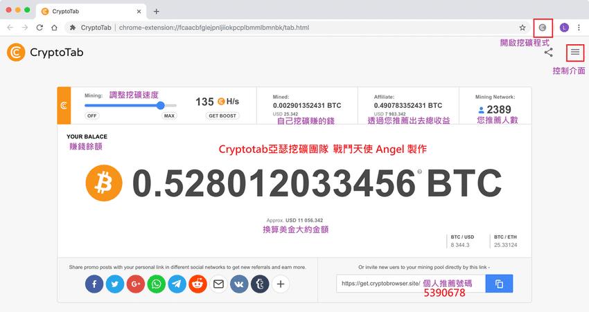 比特幣挖礦中文說明Cryptotab